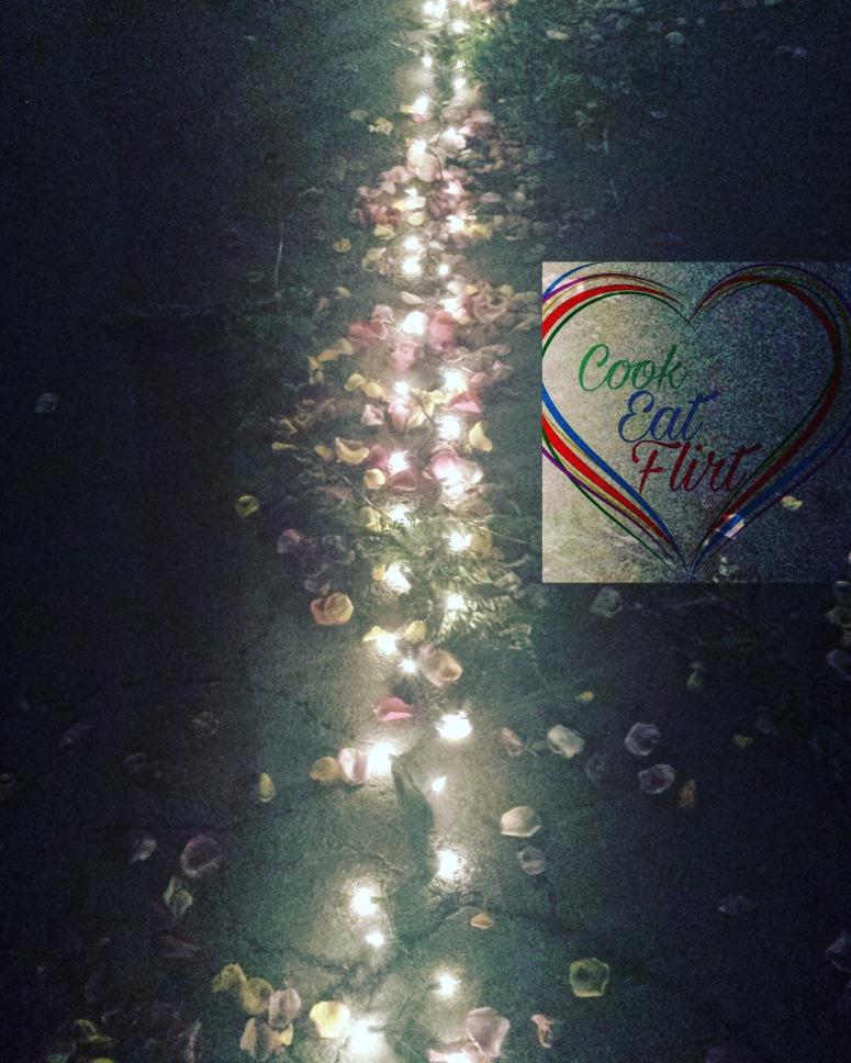 Rose petals walkway with lights