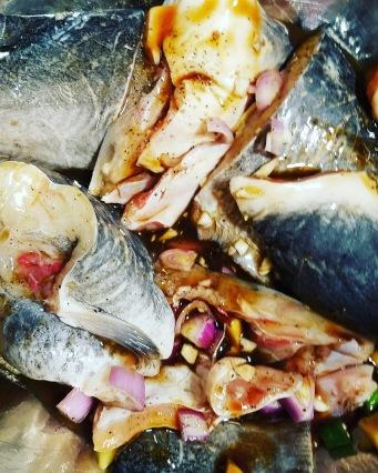 Very clean catfish marinating